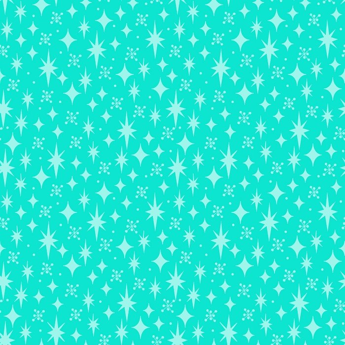 Garden Gnomes - Stars on Aqua by Sue Marsh for RJR Fabrics