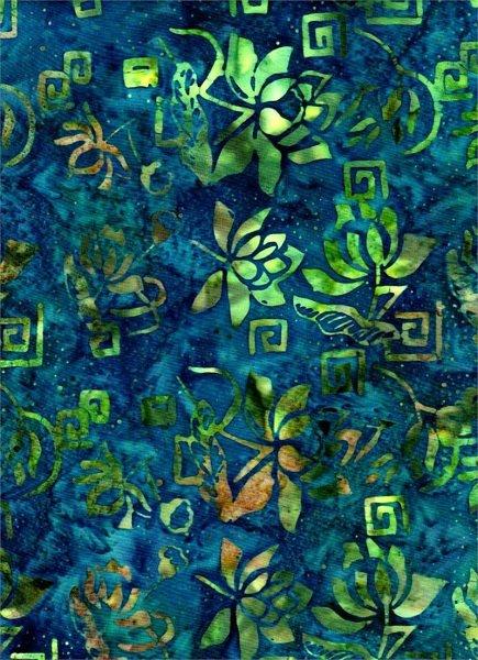 Celestial Blossoms - Print on Blue by Batik Textiles