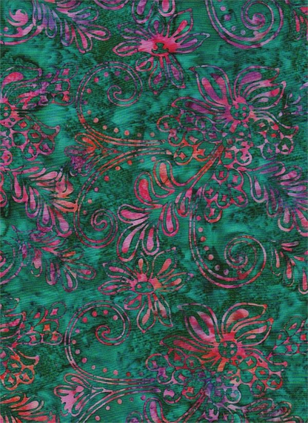 Celestial Blossoms - Flowers in Multi on Green by Batik Textiles