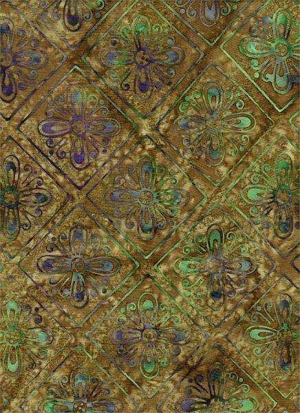 Celestial Blossoms - Flower Grid on Green by Batik Textiles