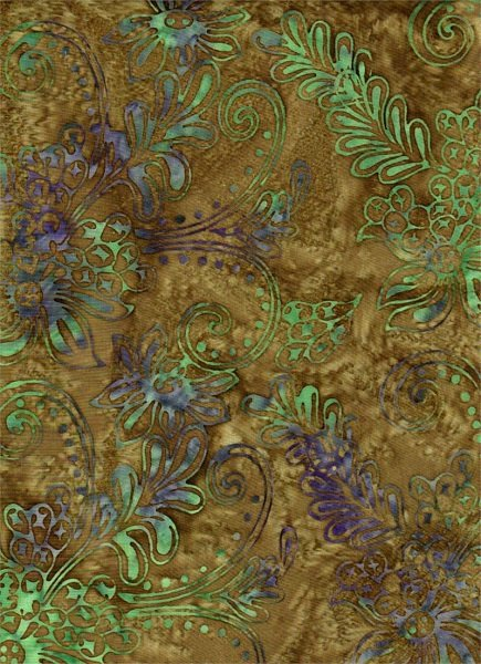 Celestial Blossoms - Flowers on Green by Batik Textiles