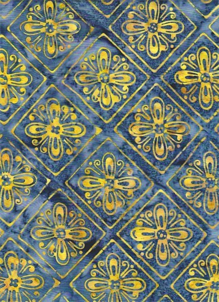 Portofino - Flower Grid in Blue by Batik Textiles