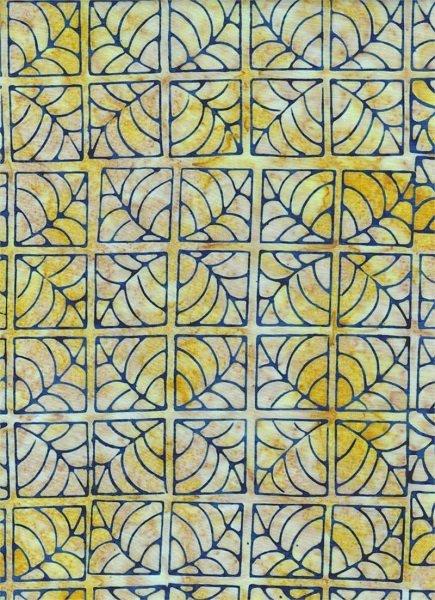Portofino - Tile in Blue on Yellow by Batik Textiles