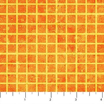 Monster Mischief - Grid on Orange by Northcott