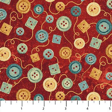 Stonehenge A Stitch in Time - Buttons in Multi on Red by Deborah Edwards for Northcott