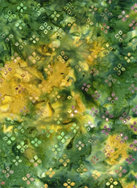 Down Under - Geometric on Green / Gold by Batik Textiles