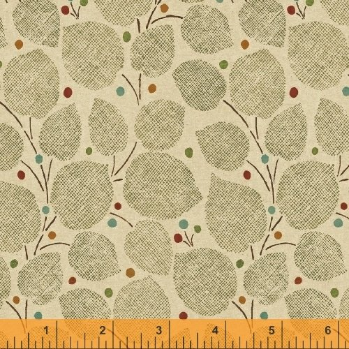 Textured Leaves - Large Leaves in Tan by Whistler Studios for Windham Fabrics