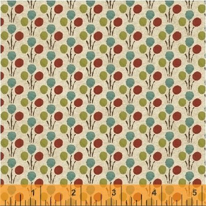 Textured Leaves - Flower Dots in Multi on Tan by Whistler Studios for Windham Fabrics