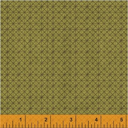 Textured Leaves - Gridlines on Olive by Whistler Studios for Windham Fabrics