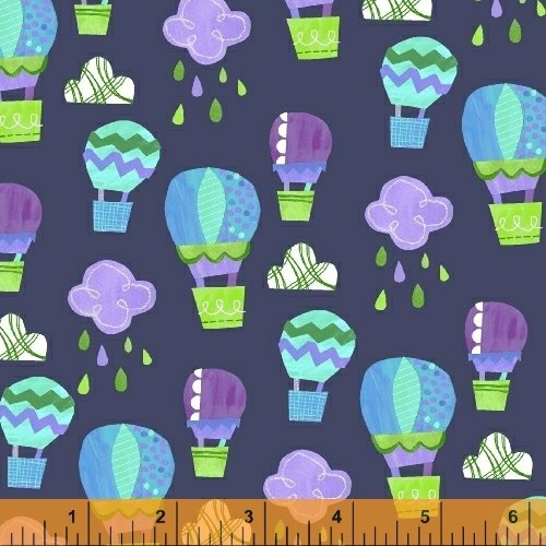 Color and Count - Up, Up and Away on Navy by Jill McDonald for Windham Fabrics