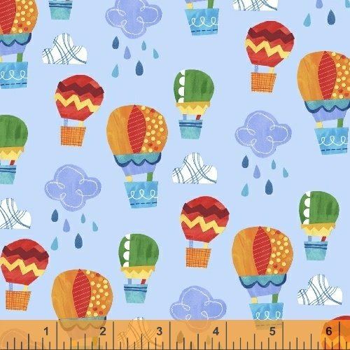 Color and Count - Up, Up and Away on Light Blue by Jill McDonald for Windham Fabrics