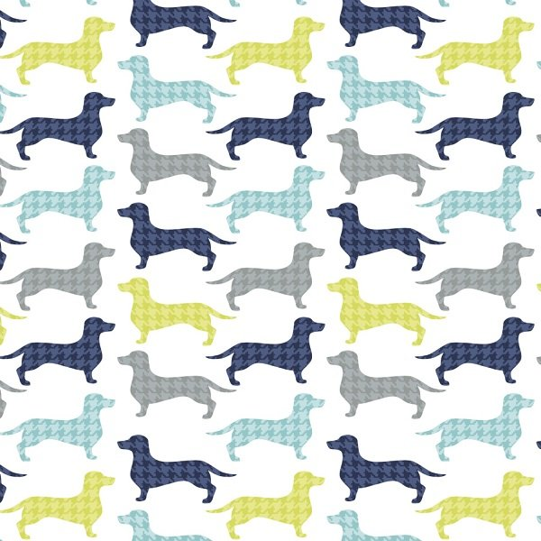 Dog Gone It - Dachshunds-tooth in White by Jackie McFee for Camelot