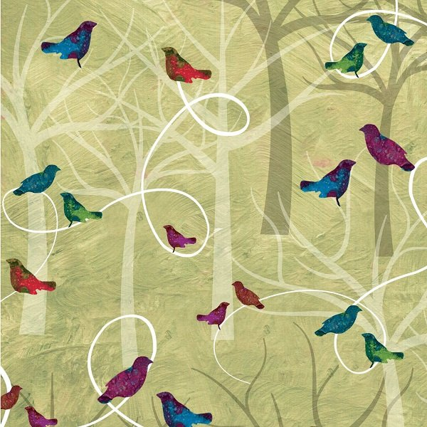 Autumn Hues - Trees and Birds on Green by Alexa Kate Design for Studio e Fabrics
