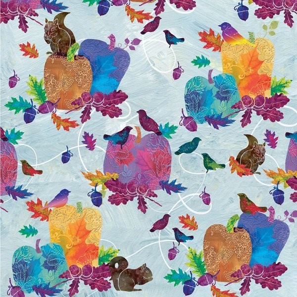 Autumn Hues - Pumpkins and Birds on Blue by Alexa Kate Design for Studio e Fabrics