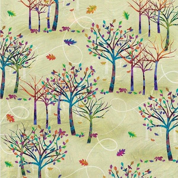 Autumn Hues - Small Trees on Green by Alexa Kate Design for Studio e Fabrics