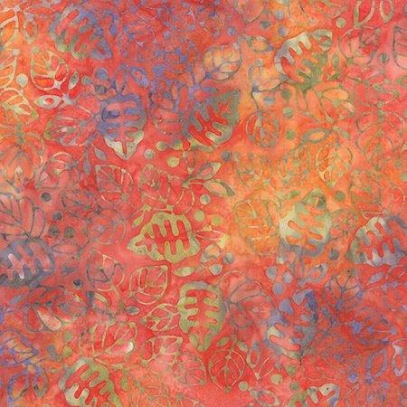 Color Daze Batiks - Leaves in Crimson by Laundry Basket for Moda