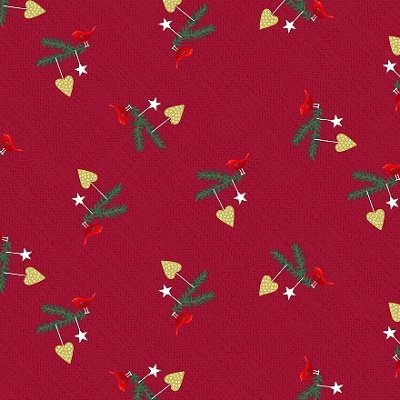 Christmas for Friends - Birds on Twigs in Red by Stof