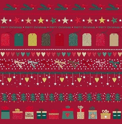 Christmas for Friends - Border Print in Red by Stof