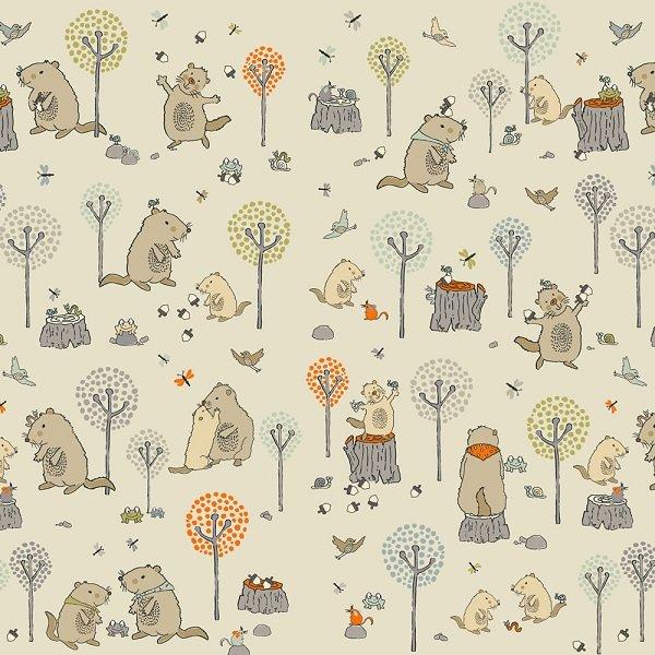 Mingo Memory - Woodland Characters on Light Khaki by Stof