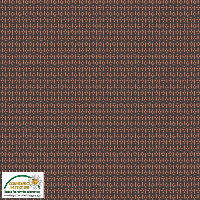 Bonita - Line Dot in Terracotta on Charcoal by Stof