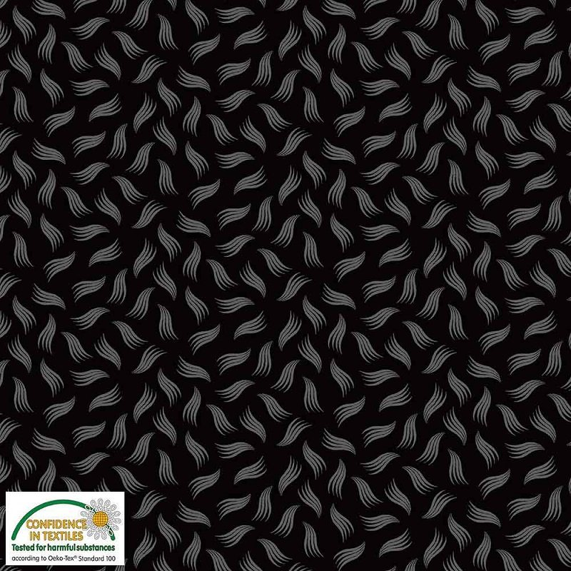 Quilters Combination - Wavy Triangles in Black by Stof