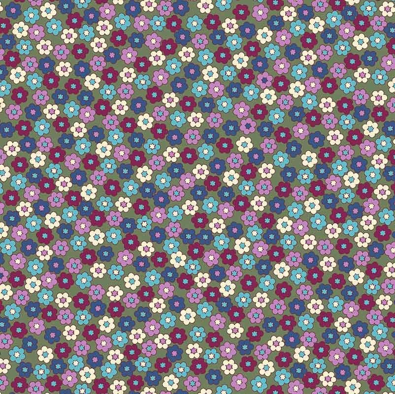 Quilters Combination - Mini Flowers in Purple by Stof
