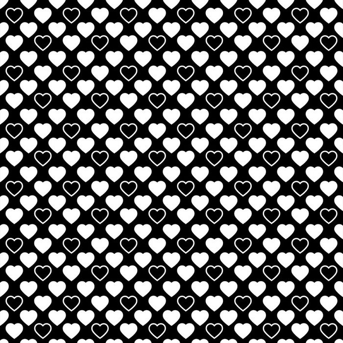 Quilters Basic Harmony - Hearts in White on Black by Stof
