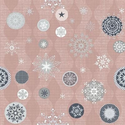 Icy Winter - Large Snowflake in Shell Pink with Silver by Stof