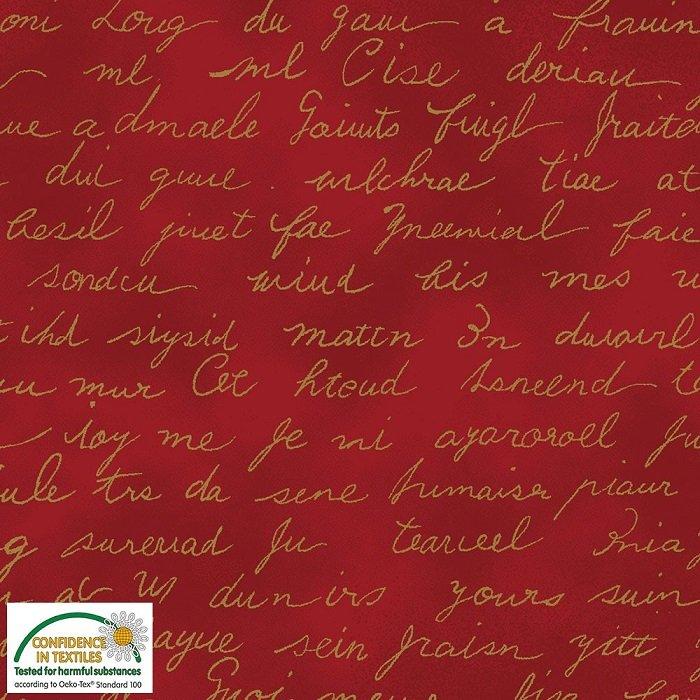 Christmas Wonders - Script in Gold Metallic on Red by Stof