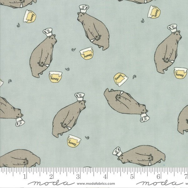 Darling Little Dickens - Honey Bear on Puddle by Lydia Nelson for Moda