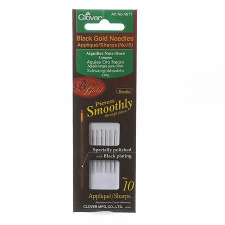 Needles - Black Gold Applique / Sharps Needles Size 10 (6 Count) by Clover