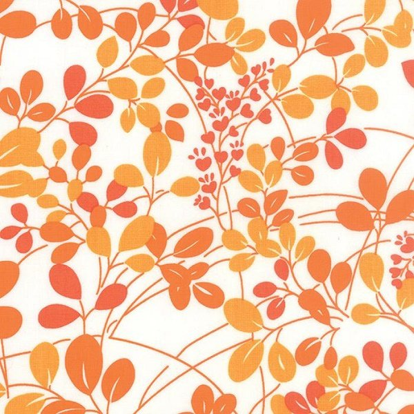 Simply Colorful I - Sprigs in Orange on White by V & Co. for Moda