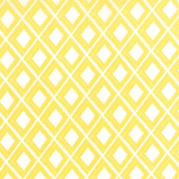 Simply Colorful I - Ikat in Yellow on White by V & Co. for Moda