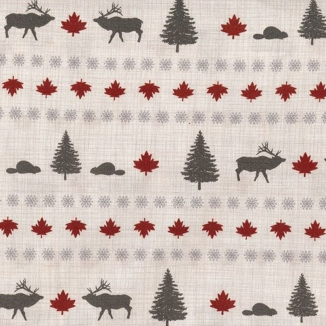 True North - Moose and Tree Stripe in Linen by Kate & Birdie Paper Co. for Moda
