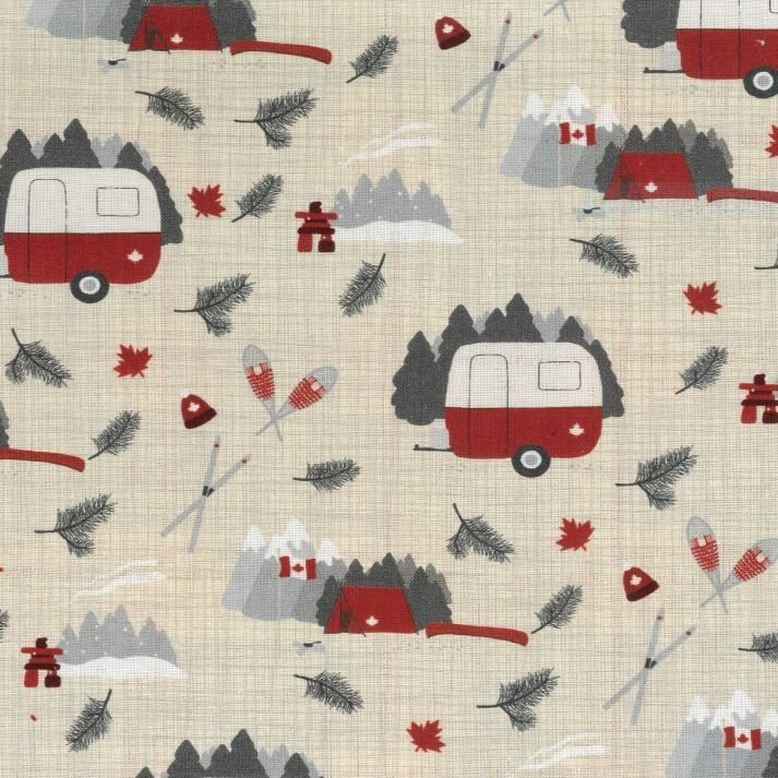 True North 2 - Campers in Linen by Kate & Birdie Paper Co. for Moda