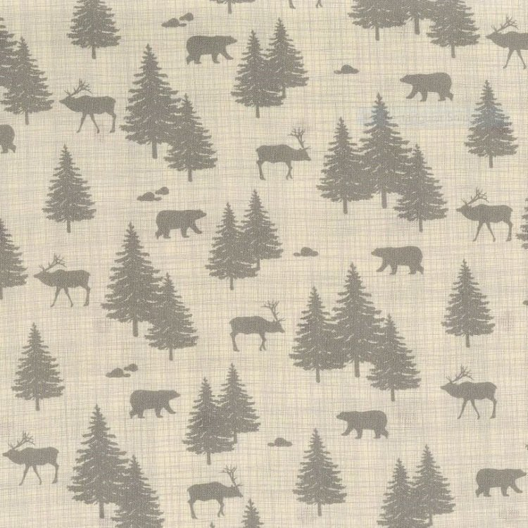 True North 2 - Wildlife and Trees in Linen by Kate & Birdie Paper Co. for Moda