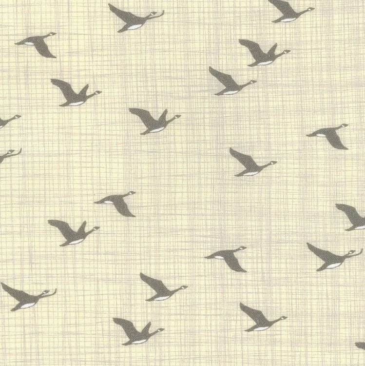 True North 2 - Canada Geese on Linen by Kate & Birdie Paper Co. for Moda