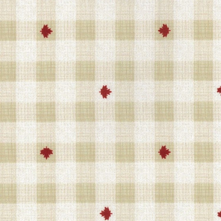 True North 2 - Buffalo Plaid with Leaves in Linen by Kate & Birdie Paper Co. for Moda