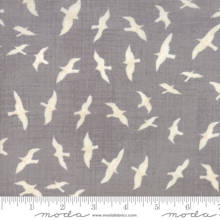 Ahoy Me Hearties - Gulls in Pebble by Janet Clare for Moda