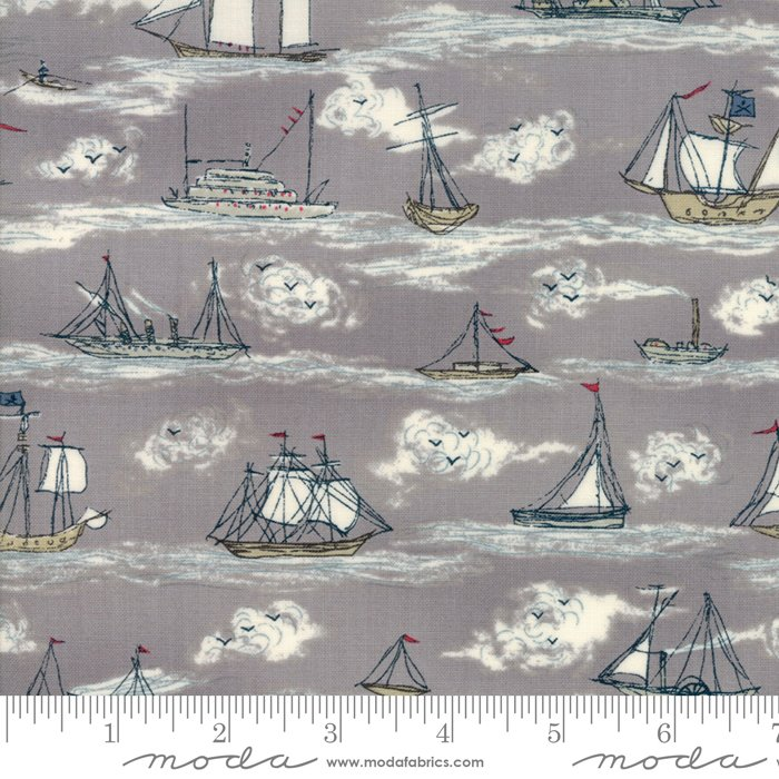 Ahoy Me Hearties - Busy Seas in Pebble by Janet Clare for Moda