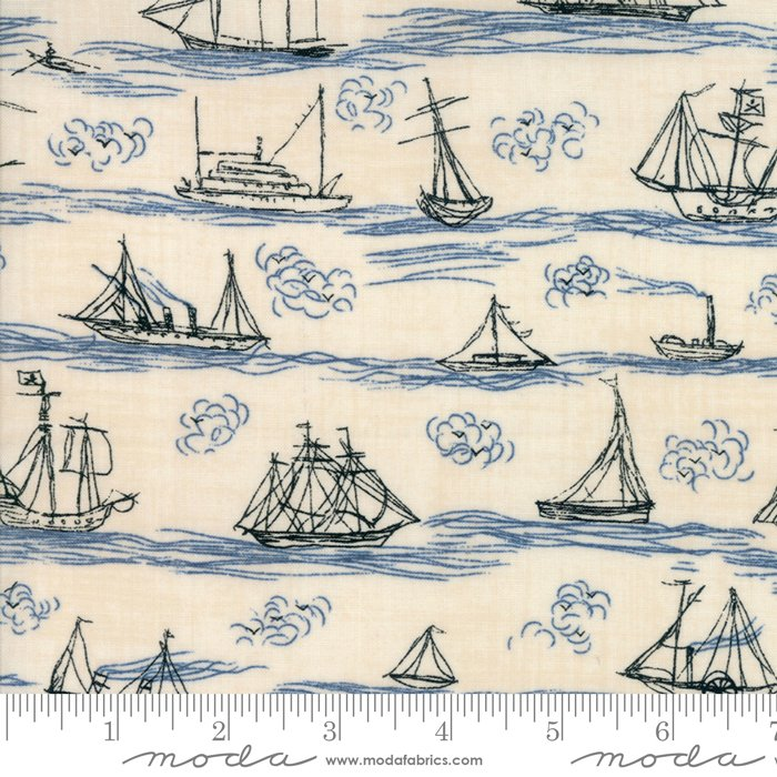 Ahoy Me Hearties - Busy Seas in Pearl / Ocean by Janet Clare for Moda