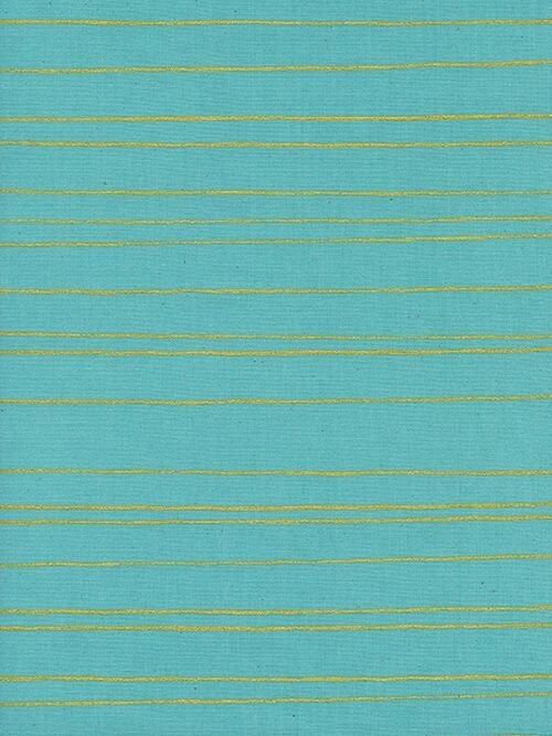 Noel - Gold Stripe on Aqua by Melody Miller for Cotton + Steel