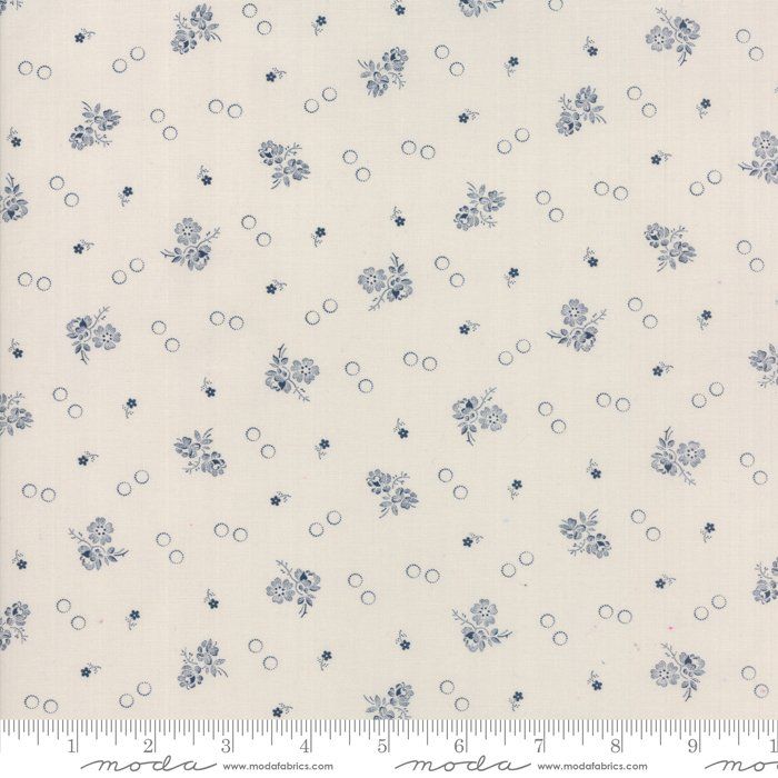 Portsmouth - Garden Flowers in Stone / Navy by Minick & Simpson for Moda