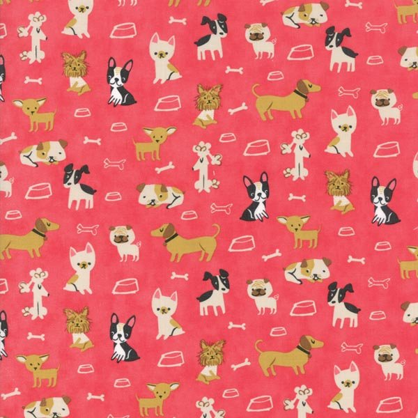 Woof Woof Meow - Small But Mighty in Pink by Stacy Iest Hsu for Moda