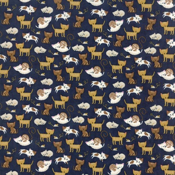 Woof Woof Meow - Kitty Shenanigans in Navy by Stacy Iest Hsu for Moda