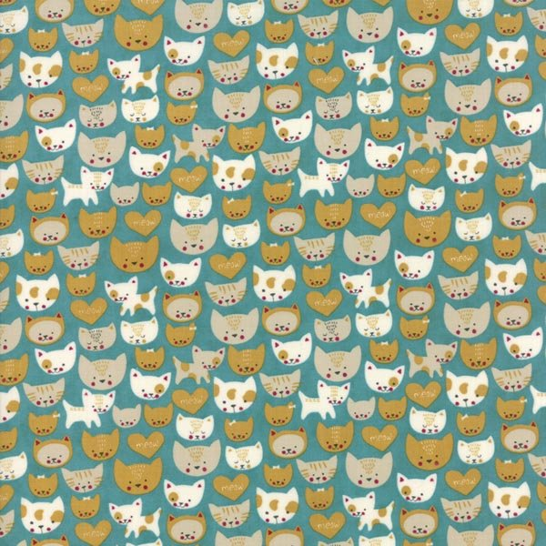 Woof Woof Meow - Here Kitty Kitty in Turquoise by Stacy Iest Hsu for Moda