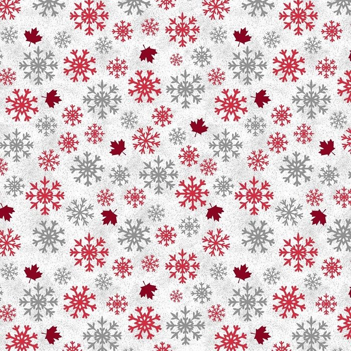Canadian Christmas - Snowflakes & Maple Leaves on White by Windham Fabrics