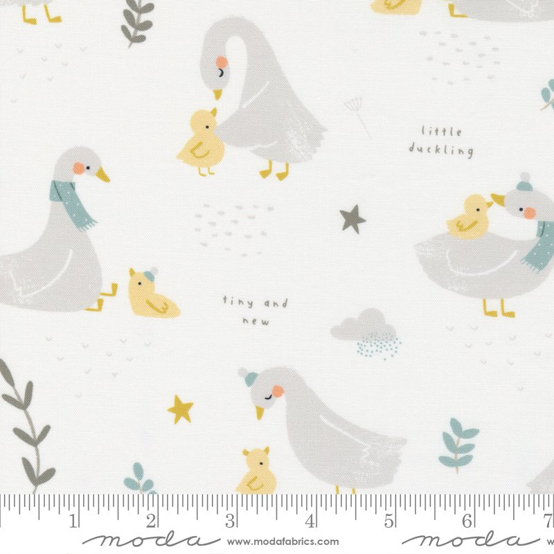 Little Ducklings - Little Ducklings in White by Paper And Cloth for Moda