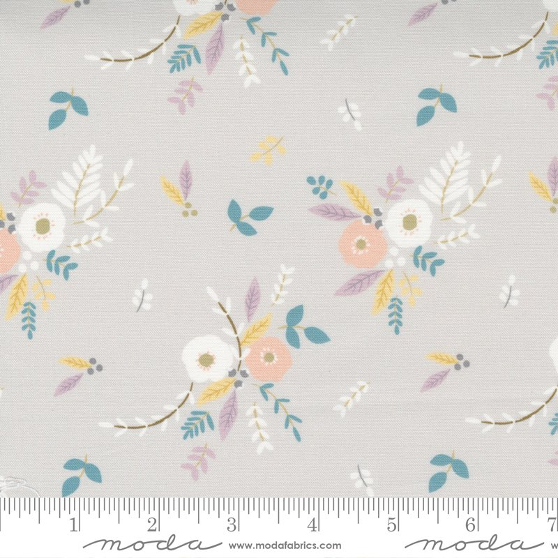 Little Ducklings - Floral Bouquet in Warm Grey by Paper And Cloth for Moda