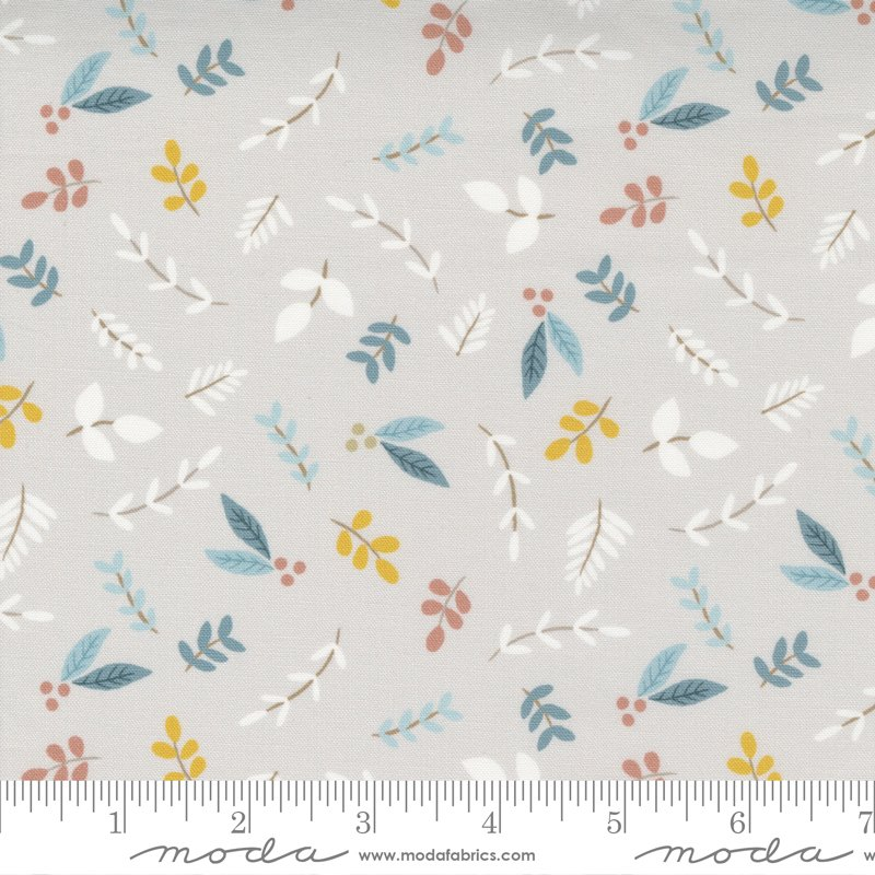 Little Ducklings - Foliage Sprigs in  Warm Grey by Paper And Cloth for Moda